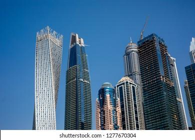 Dubai, UAE - October, 2018: Skycrapers at Dubai Marina. Business downtown skycrapers view. Business concept.