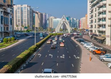 DUBAI, UAE - OCTOBER 21, 2016: Al Maktoum road and Deira Clocktower in Dubai, United Arab Emirates