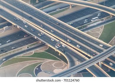 DUBAI, UAE - OCTOBER 21, 2016: Aerial view of a highway intersection in Dubai, United Arab Emirates