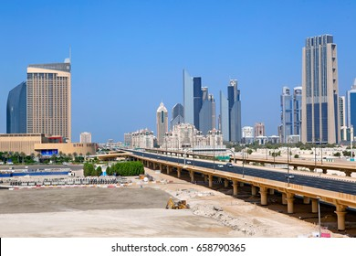 DUBAI, UAE - OCTOBER 23: Financial Centre Road on October 23, 2012 in Dubai, UAE. Financial Centre Road - the largest automobile Dubai highway