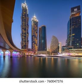 DUBAI, UAE, OCTOBER 28, 2017: Dubai Water Canal skylines, United Arab Emirates.