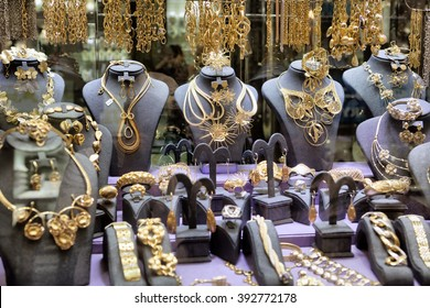 "DUBAI, UAE - OCTOBER 28: Gold on the famous ""Golden souk"" in Dubai Deira market on 28 October, 2014, Dubai, UAE"