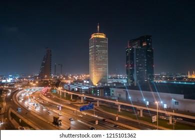 DUBAI, UAE - OCTOBER 5, 2017: World Trade Centre and Sheikh Zayed Road, Dubai, at night, UAE