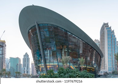 DUBAI, UAE - October 7, 2018: Dubai Opera House in Downtown Dubai, United Arab Emirates