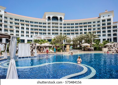 DUBAI, UAE - SEPTEMBER 10, 2015: A wonderful area of 5 stars Hotel Waldorf Astoria Dubai Palm Jumeirah on man-made island of Palm Jumeirah. United Arab Emirates.