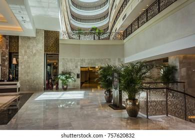 DUBAI, UAE - SEPTEMBER 10, 2015: Interior of a wonderful lounge in 5 star Hotel Waldorf Astoria Dubai Palm Jumeirah on man-made island of Palm Jumeirah. United Arab Emirates.