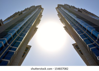 DUBAI, UAE - SEPTEMBER 10: The view on two towers of JW Marriott Marquis Dubai hotel on September 10, 2013 in Dubai, UAE. It is the world'??s tallest hotel.