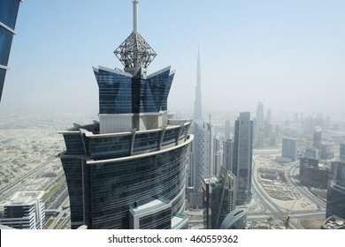 DUBAI, UAE - SEPTEMBER 10: The view on a tower of JW Marriott Marquis Dubai hotel on September 10, 2013 in Dubai, UAE. It is the worldâ??s tallest hotel.