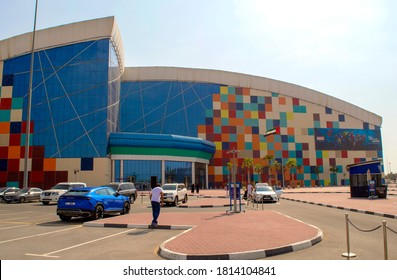Dubai / UAE - September 11, 2020: IMG worlds of adventure building entrance and exterior. Dubai's largest indoor theme park.