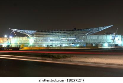 Dubai, UAE - September 15, 2018: Dubai Metro RTA construction night construction. This new Dubai metrolink rail system routes to Maktoum International Airport and EXPO 2020 venue site.