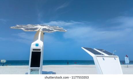 Dubai. UAE. September 2018. Solar panel powered palm-tree with Wi-Fi stations promote Dubai smart plans.