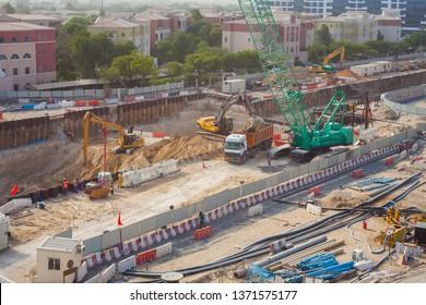 DUBAI, UAE - SEPTEMBER 24 2018: construction site for Dubai Expo 2020. United Arab Emirates