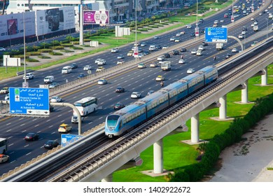 DUBAI, UAE - SEPTEMBER 24 2018: Modern metro transportation in Dubai city downtown