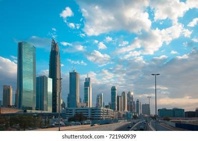 DUBAI, UAE - SEPTEMBER 25, 2017: Fantastic skyscrapers of Business Bay skyline in Dubai, United Arab Emirates