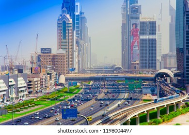 DUBAI, UAE - SEPTEMBER 25 2018: Zayed road in Dubai city downtown, United Arab Emirates