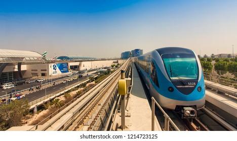 DUBAI, UAE - SEPTEMBER 25 2018: modern metro station at Dubai International airport city view