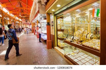 DUBAI, UAE - SEPTEMBER 29 2018: the gold souk or market in Dubai city, Deira. United Arab Emirates