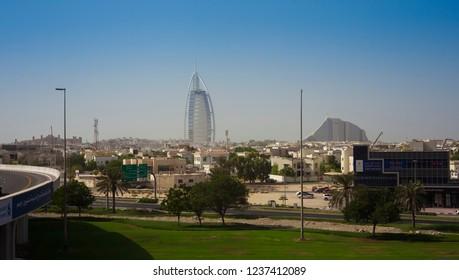 DUBAI, UAE - SEPTEMBER 29 2018: Burj Al Arab famous hotel in Dubai city, UAE