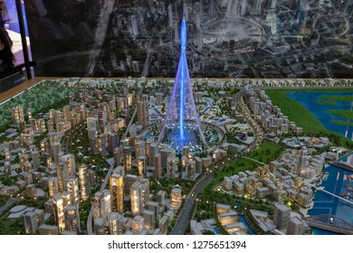 DUBAI, UAE - SEPTEMBER 29 2018: Dubai Creek Tower model in Dubai Mall, it will be the highest building construction in the world