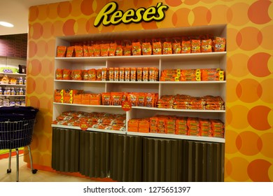 DUBAI, UAE - SEPTEMBER 29 2018: Reeses sweets cookies for sale in Candylicious shop, the biggest candy shop in the world. Dubai