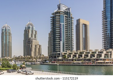 DUBAI, UAE - SEPTEMBER 29: View at modern skyscrapers in Dubai Marina on September 29, 2012 in Dubai, UAE. Dubai Marina - artificial canal city, carved along a 3 km stretch of Persian Gulf shoreline.