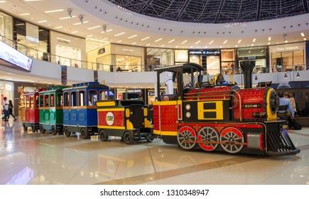 DUBAI, UAE - SEPTEMBER 30 2018: toy train for kids in Dubai Marina mall