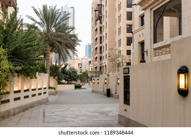 DUBAI, UAE - SEPTEMBER 5, 2014: The Old Town, a residential development by Emaar that draws inspiration from traditional Arab architecture, in Downtown Dubai, UAE
