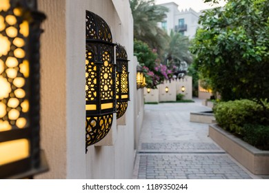 DUBAI, UAE - SEPTEMBER 5, 2014: Arabic lanterns lining a pathway in The Old Town, a residential development by Emaar that draws inspiration from traditional Arab architecture, in Downtown Dubai, UAE