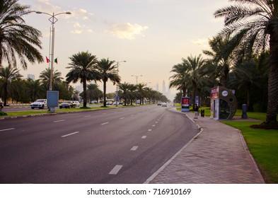 DUBAI, UAE - SEPTEMBER 6, 2017: Cars on the road in the sunny city of Dubai, United Arab Emirates