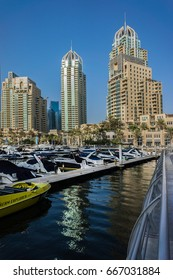 DUBAI, UAE - SEPTEMBER 8, 2015: Modern skyscrapers in Dubai Marina. Marina - artificial canal city, carved along a 3 km stretch of Persian Gulf shoreline.