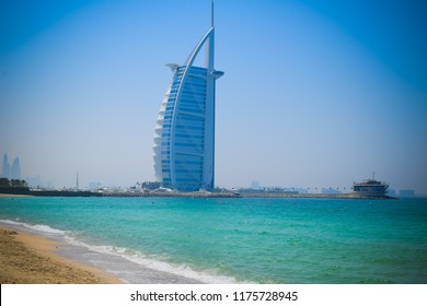 """DUBAI, UAE United Arab Emirates - 23 APRIL 2016: Burj Al Arab hotel, also called """"The world's only 7 star Hotel"""" or """"Tower of the Arabs"""" 321 meters height high-rise, luxurious symbol of modern Dubai."""