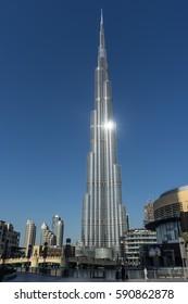 DUBAI, UAE UNITED ARAB EMIRATES - JANUARY 7, 2017: Burj Khalifa, the world's tallest skyscraper
