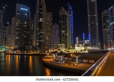 DUBAI, UAE UNITED ARAB EMIRATES - JAN 5, 2017: Night view of Dubai Marina highrises from a bridge