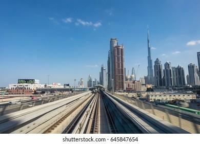 DUBAI, UAE UNITED ARAB EMIRATES - JAN 6, 2017: Automated metro in Dubai going to downtown