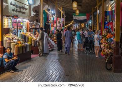 DUBAI, UAE UNITED ARAB EMIRATES - JAN 5, 2017: Dubai spice souk in Deira district