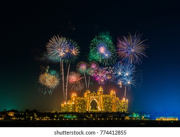 DUBAI, UAE-31.12.2016: New Years Eve fireworks near Atlantis hotel in Dubai.Atlantis the Palm is a luxury 5 star hotel built on an artificial island with over 1,500 guestrooms