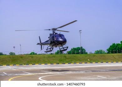 Dubai, UAE-May 10, 2019 ; Helicopter parked at the helipad in Dubai, UAE.