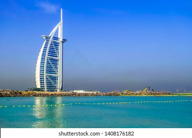 Dubai, UAE-May 9, 2019 ; The world's first seven stars luxury hotel Burj Al Arab in Dubai.