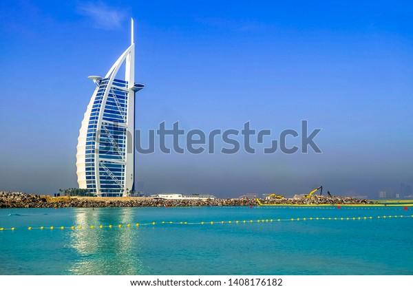 Dubai, UAE-May 9, 2019 ; The world's first seven stars luxury hotel Burj Al Arab in Dubai.