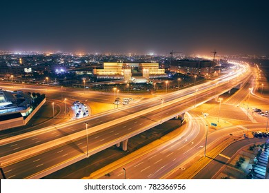 Dubai, United Arab Emirate - May 26, 2017: Long exposure of busy traffic against local district.