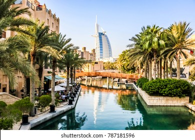 Dubai, United Arab Emirates - 01/03/2018 - Amazing view of Burj Al Arab, Seven Star Hotel, A view from Souk Madinat Jumeirah, Residential and Business Skyscrapers, Dubai, UAE