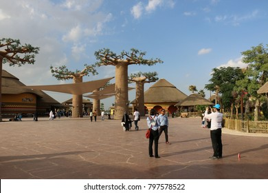 Dubai, United Arab Emirates -01/08/2018 - Modern Landscape of Dubai Safari Park zoological garden in Al Warqa and, home to the most diverse array of animals in Dubai, UAE