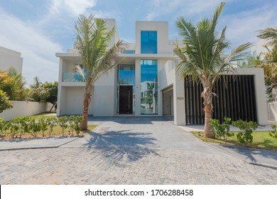 Dubai, United Arab Emirates 02/13/2020 : Exterior of a landscaped independent Villa/ House in Palm Jumeirah in Dubai