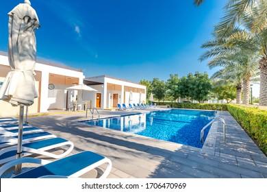 Dubai, United Arab Emirates 02/20/2020 : Rahat villas community pool in Mudon, Dubai Land Area, Dubai