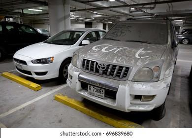 dubai, United Arab Emirates, 02/26/2017, dusty abandoned cars left behind in the financial crisis recession in dubai uae,