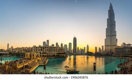 DUBAI, UNITED ARAB EMIRATES - 04 DECEMBER, 2018: View of Burj Khalifa and Dubai Mall in the center of Dubai, United Arab Emirates