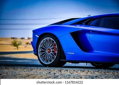 Dubai / United Arab Emirates - 04/05/2018: The Lamborghini Aventador S supercar on a quiet Dubai road in the desert
