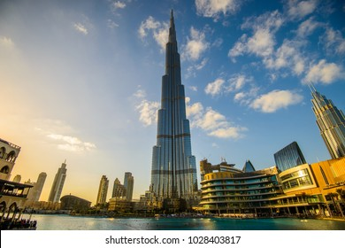 DUBAI, UNITED ARAB EMIRATES - 05 January, 2018: Burj Khalifa tower. This skyscraper is the tallest man-made structure in the world
