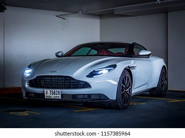 Dubai / United Arab Emirates - 07/29/2018: The Aston Martin DB11 V8 in a Dubai car park