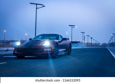 Dubai / United Arab Emirates - 08/16/2018: The front of the Chevrolet Corvette Z06 sports car on an empty road at dawn